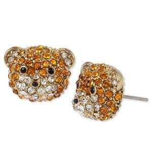 🆕Betsey Johnson Pave Teddy Bear Stud Earrings